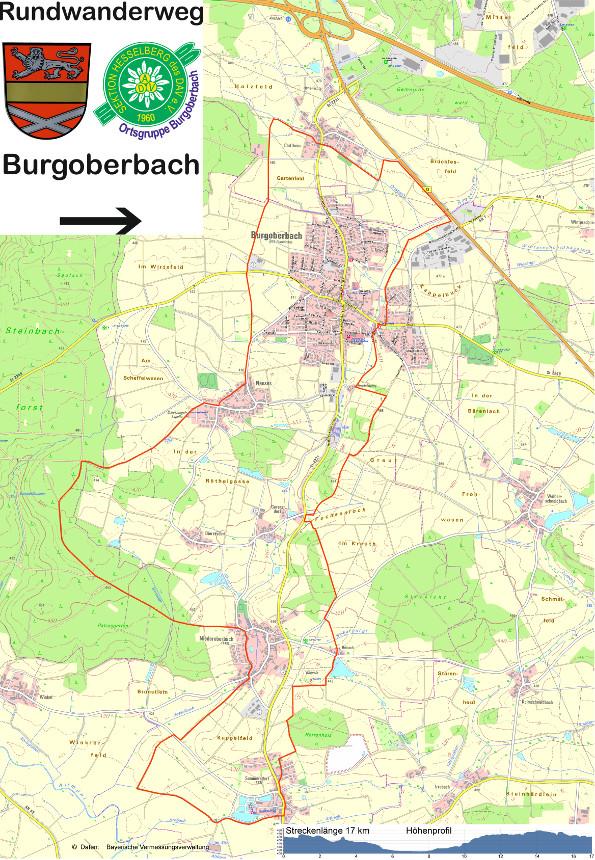 Karte Rundwanderweg Burgoberbach